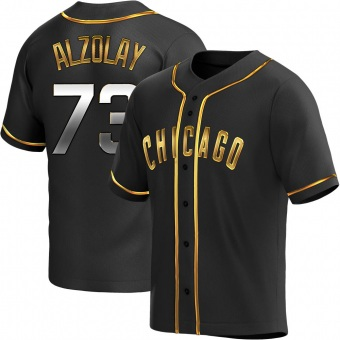 Men's Adbert Alzolay Chicago Black Golden Replica Alternate Baseball Jersey (Unsigned No Brands/Logos)