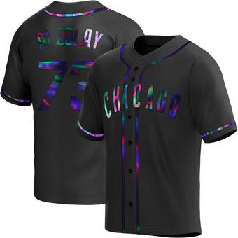 Men's Adbert Alzolay Chicago Black Holographic Replica Alternate Baseball Jersey (Unsigned No Brands/Logos)