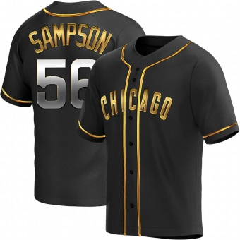 Men's Adrian Sampson Chicago Black Golden Alternate Baseball Jersey (Unsigned No Brands/Logos)
