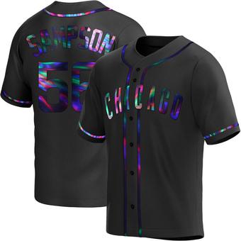Men's Adrian Sampson Chicago Black Holographic Alternate Baseball Jersey (Unsigned No Brands/Logos)