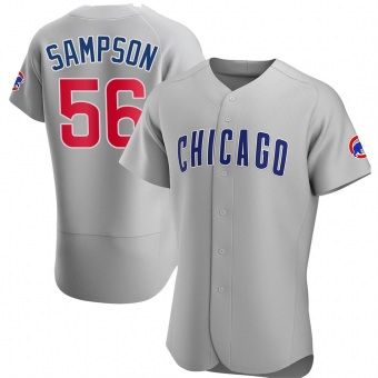 Men's Adrian Sampson Chicago Gray Authentic Road Baseball Jersey (Unsigned No Brands/Logos)