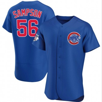 Men's Adrian Sampson Chicago Royal Authentic Alternate Baseball Jersey (Unsigned No Brands/Logos)