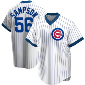 Men's Adrian Sampson Chicago White Replica Home Cooperstown Collection Baseball Jersey (Unsigned No Brands/Logos)