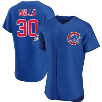Men's Alec Mills Chicago Royal Authentic Alternate Baseball Jersey (Unsigned No Brands/Logos)