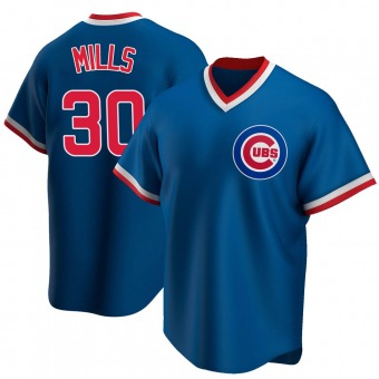 Men's Alec Mills Chicago Royal Replica Road Cooperstown Collection Baseball Jersey (Unsigned No Brands/Logos)