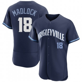 Men's Bill Madlock Chicago Navy Authentic 2021 City Connect Baseball Jersey (Unsigned No Brands/Logos)