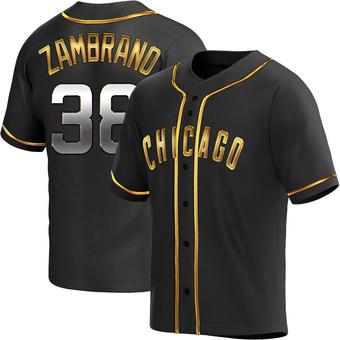 Men's Carlos Zambrano Chicago Black Golden Replica Alternate Baseball Jersey (Unsigned No Brands/Logos)