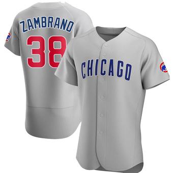 Men's Carlos Zambrano Chicago Gray Authentic Road Baseball Jersey (Unsigned No Brands/Logos)
