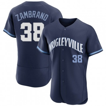 Men's Carlos Zambrano Chicago Navy Authentic 2021 City Connect Baseball Jersey (Unsigned No Brands/Logos)
