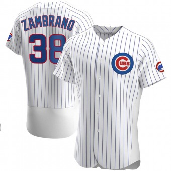 Men's Carlos Zambrano Chicago White Authentic Home Baseball Jersey (Unsigned No Brands/Logos)