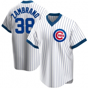Men's Carlos Zambrano Chicago White Replica Home Cooperstown Collection Baseball Jersey (Unsigned No Brands/Logos)