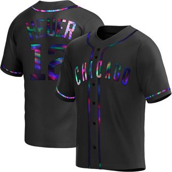Men's Codi Heuer Chicago Black Holographic Alternate Baseball Jersey (Unsigned No Brands/Logos)