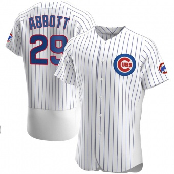 Men's Cory Abbott Chicago White Authentic Home Baseball Jersey (Unsigned No Brands/Logos)