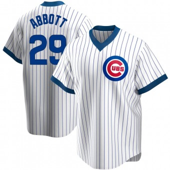 Men's Cory Abbott Chicago White Replica Home Cooperstown Collection Baseball Jersey (Unsigned No Brands/Logos)
