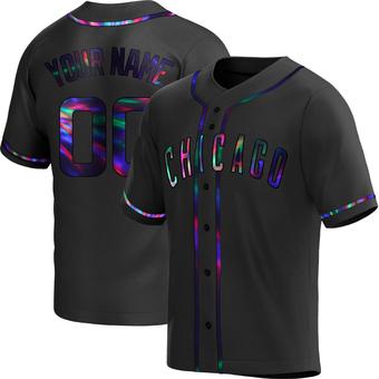Men's Custom Chicago Black Holographic Replica Alternate Baseball Jersey (Unsigned No Brands/Logos)