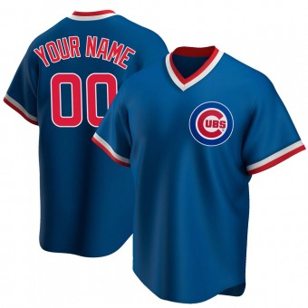 Men's Custom Chicago Royal Replica Road Cooperstown Collection Baseball Jersey (Unsigned No Brands/Logos)
