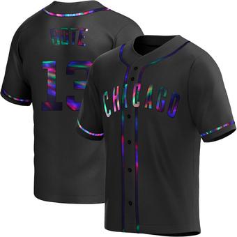 Men's David Bote Chicago Black Holographic Replica Alternate Baseball Jersey (Unsigned No Brands/Logos)