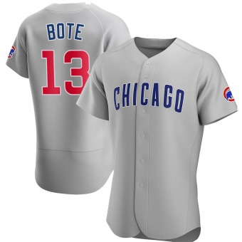Men's David Bote Chicago Gray Authentic Road Baseball Jersey (Unsigned No Brands/Logos)