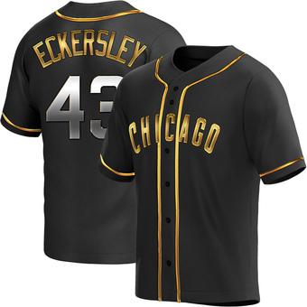 Men's Dennis Eckersley Chicago Black Golden Replica Alternate Baseball Jersey (Unsigned No Brands/Logos)