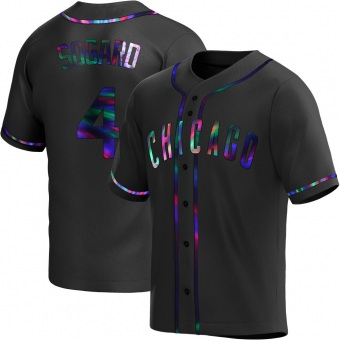 Men's Eric Sogard Chicago Black Holographic Replica Alternate Baseball Jersey (Unsigned No Brands/Logos)