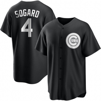 Men's Eric Sogard Chicago Black/White Replica Baseball Jersey (Unsigned No Brands/Logos)