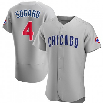 Men's Eric Sogard Chicago Gray Authentic Road Baseball Jersey (Unsigned No Brands/Logos)