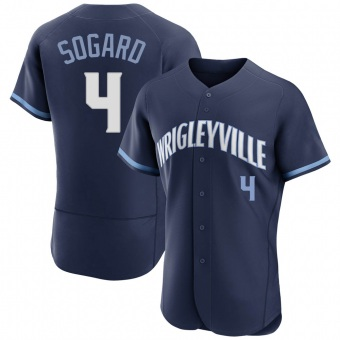 Men's Eric Sogard Chicago Navy Authentic 2021 City Connect Baseball Jersey (Unsigned No Brands/Logos)