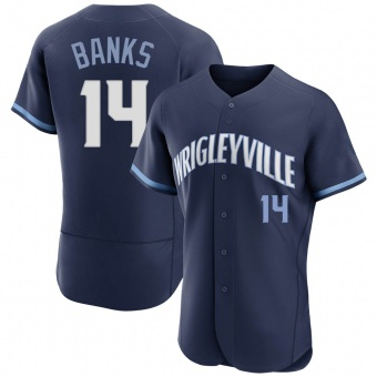 Men's Ernie Banks Chicago Navy Authentic 2021 City Connect Baseball Jersey (Unsigned No Brands/Logos)