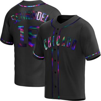 Men's Frank Schwindel Chicago Black Holographic Alternate Baseball Jersey (Unsigned No Brands/Logos)