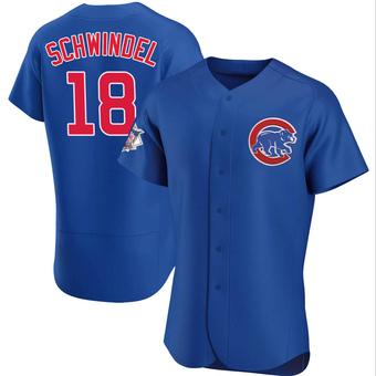 Men's Frank Schwindel Chicago Royal Authentic Alternate Baseball Jersey (Unsigned No Brands/Logos)