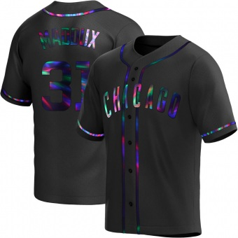 Men's Greg Maddux Chicago Black Holographic Replica Alternate Baseball Jersey (Unsigned No Brands/Logos)
