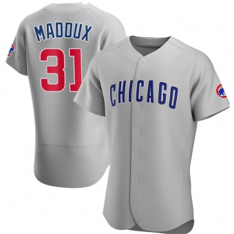 Men's Greg Maddux Chicago Gray Authentic Road Baseball Jersey (Unsigned No Brands/Logos)