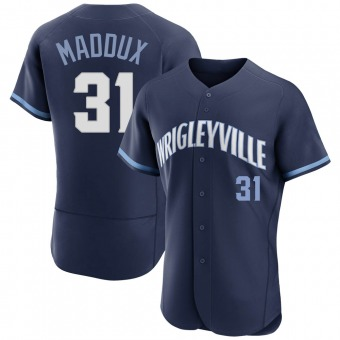 Men's Greg Maddux Chicago Navy Authentic 2021 City Connect Baseball Jersey (Unsigned No Brands/Logos)