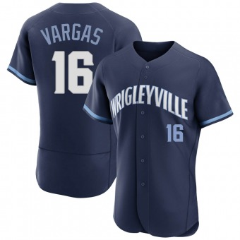 Men's Ildemaro Vargas Chicago Navy Authentic 2021 City Connect Baseball Jersey (Unsigned No Brands/Logos)
