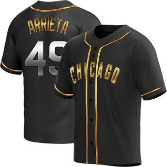 Men's Jake Arrieta Chicago Black Golden Replica Alternate Baseball Jersey (Unsigned No Brands/Logos)