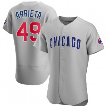 Men's Jake Arrieta Chicago Gray Authentic Road Baseball Jersey (Unsigned No Brands/Logos)