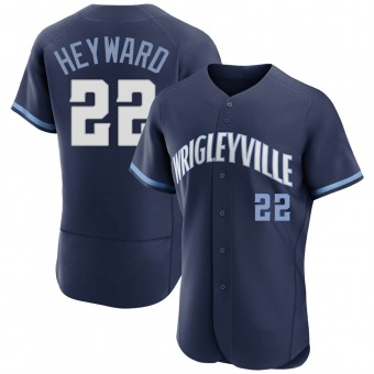 Men's Jason Heyward Chicago Navy Authentic 2021 City Connect Baseball Jersey (Unsigned No Brands/Logos)