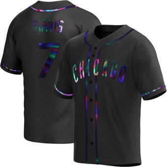 Men's Jody Davis Chicago Black Holographic Replica Alternate Baseball Jersey (Unsigned No Brands/Logos)
