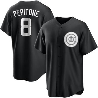 Men's Joe Pepitone Chicago Black/White Replica Baseball Jersey (Unsigned No Brands/Logos)