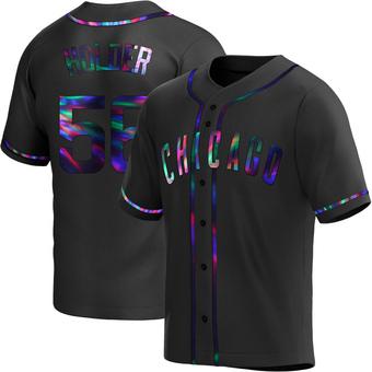 Men's Jonathan Holder Chicago Black Holographic Replica Alternate Baseball Jersey (Unsigned No Brands/Logos)