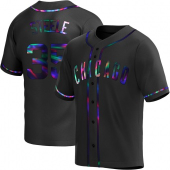 Men's Justin Steele Chicago Black Holographic Replica Alternate Baseball Jersey (Unsigned No Brands/Logos)