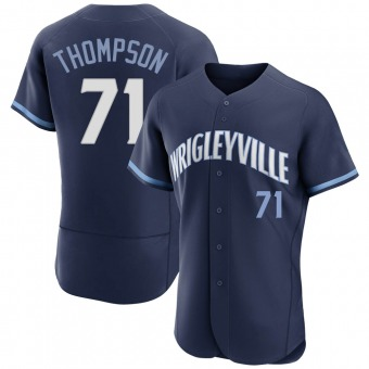 Men's Keegan Thompson Chicago Navy Authentic 2021 City Connect Baseball Jersey (Unsigned No Brands/Logos)