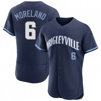 Men's Keith Moreland Chicago Navy Authentic 2021 City Connect Baseball Jersey (Unsigned No Brands/Logos)