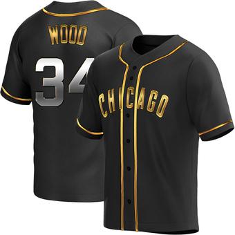 Men's Kerry Wood Chicago Black Golden Replica Alternate Baseball Jersey (Unsigned No Brands/Logos)