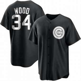 Men's Kerry Wood Chicago Black/White Replica Baseball Jersey (Unsigned No Brands/Logos)