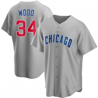Men's Kerry Wood Chicago Gray Replica Road Baseball Jersey (Unsigned No Brands/Logos)