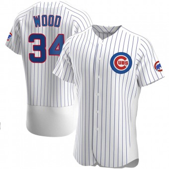 Men's Kerry Wood Chicago White Authentic Home Baseball Jersey (Unsigned No Brands/Logos)