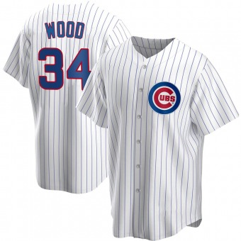Men's Kerry Wood Chicago White Replica Home Baseball Jersey (Unsigned No Brands/Logos)