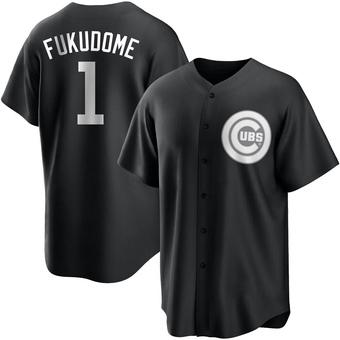 Men's Kosuke Fukudome Chicago Black/White Replica Baseball Jersey (Unsigned No Brands/Logos)