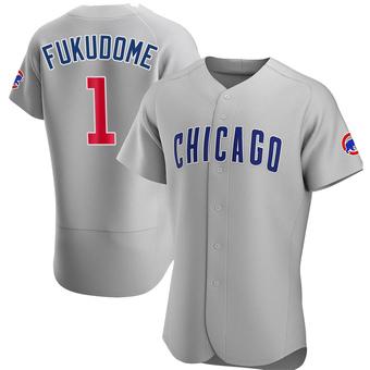 Men's Kosuke Fukudome Chicago Gray Authentic Road Baseball Jersey (Unsigned No Brands/Logos)
